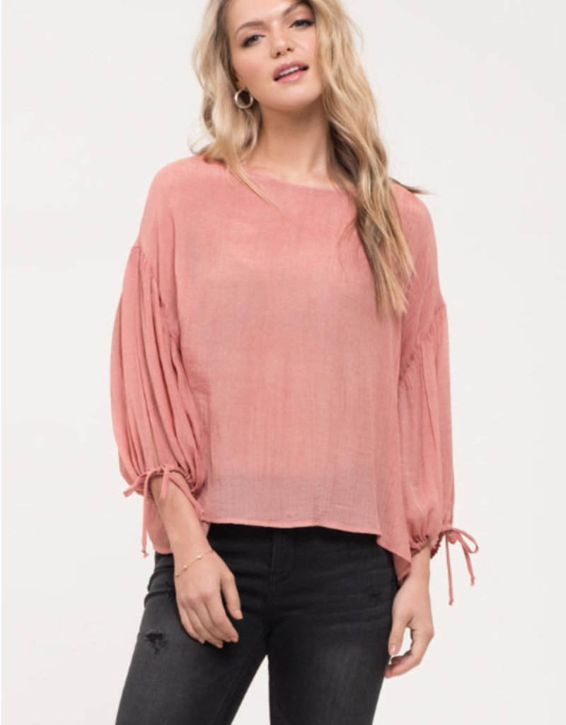Blu Pepper Salmon 3/4 Split Sleeve Blouse