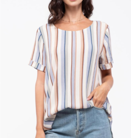 Blu Pepper Striped Roll Sleeve Top