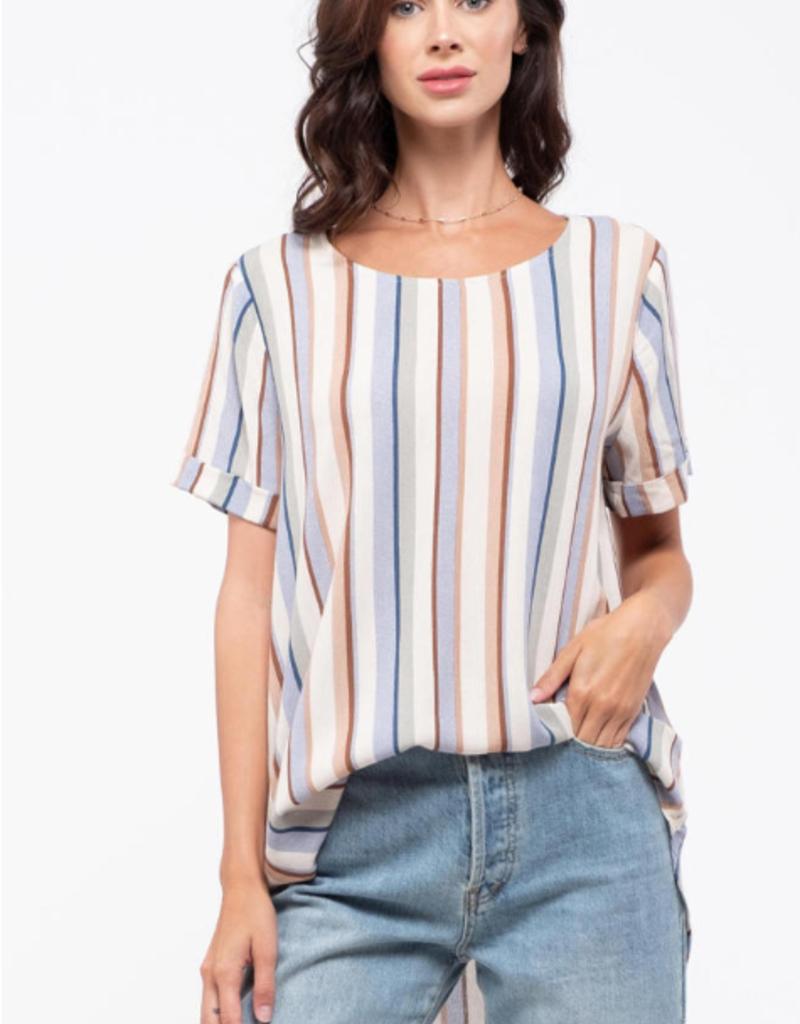 Blu Pepper Striped Roll Sleeve Top