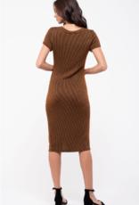 Blu Pepper Ribbed Knit Midi Dress