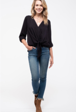 Blu Pepper Surplice Blouse With Front-Tie