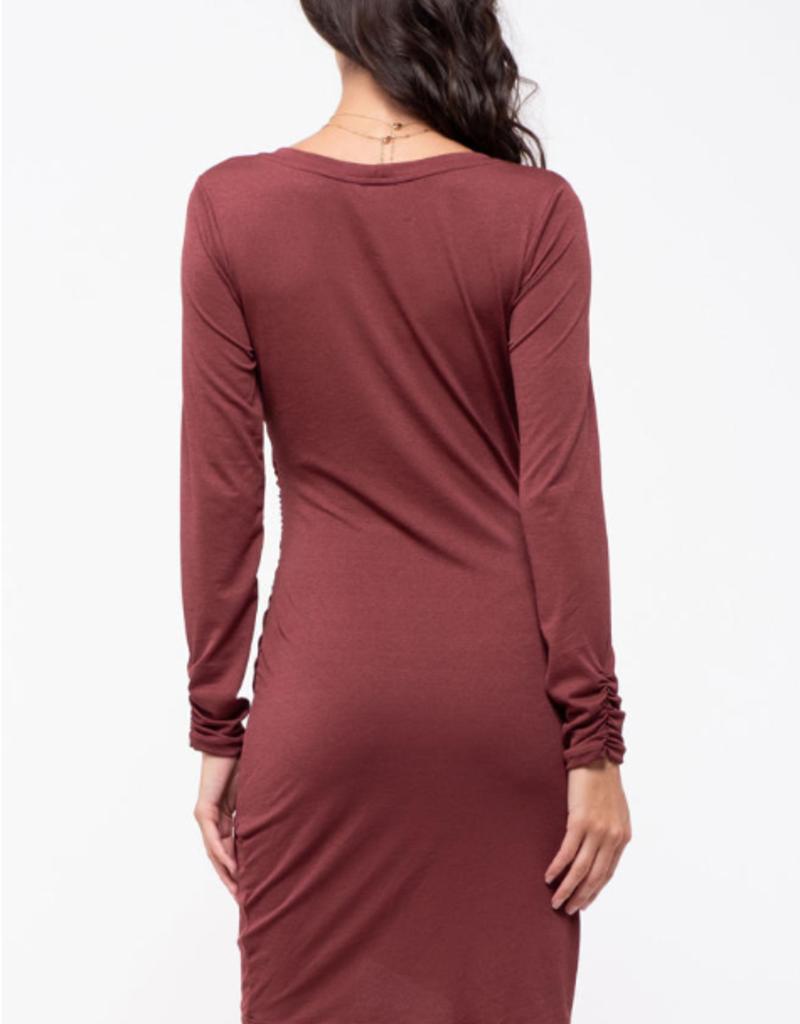 Blu Pepper Side Shirred Knit Dress