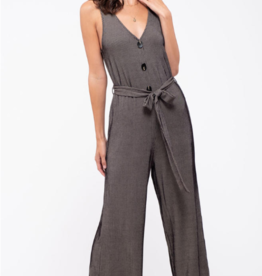 Blu Pepper Belted Pinstriped Knit Jumpsuit