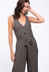 Blu Pepper Belted Pinstriped Knit Jumpsuit