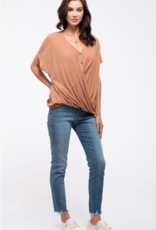 Blu Pepper Button-Down Twist-Hem Top