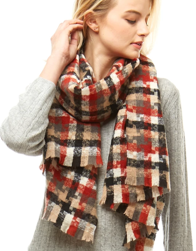 LOF Houndstooth Oblong Scarf