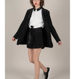 Molly Bracken Velvet Blazer with Golden Polka Dots