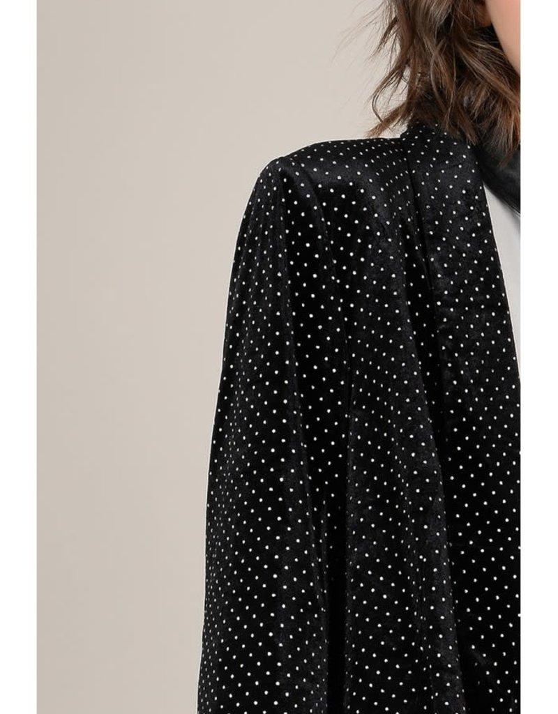 Molly Bracken Velvet Blazer with Golden Polka Dots