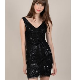 Molly Bracken Black Body Con Sequin Dress