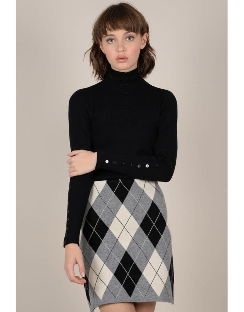 Molly Bracken Button Detail Turtleneck Sweater