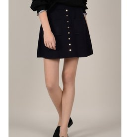 Molly Bracken Knit Trapeze Skirt with Button Detail