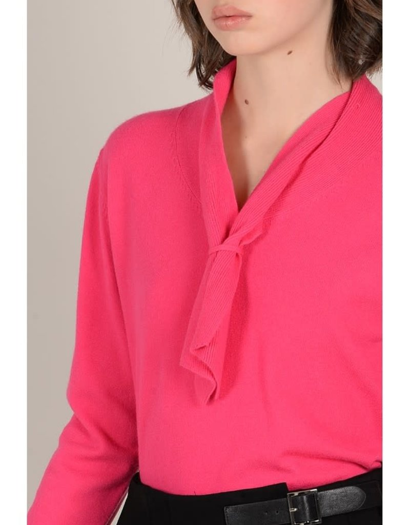 Molly Bracken Fuschia Tie Neck Sweater