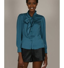 Molly Bracken Teal Tie Neck Blouse