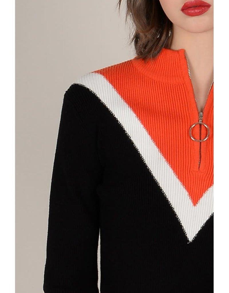 Molly Bracken Pull Over Zip Up Chevron Sweater