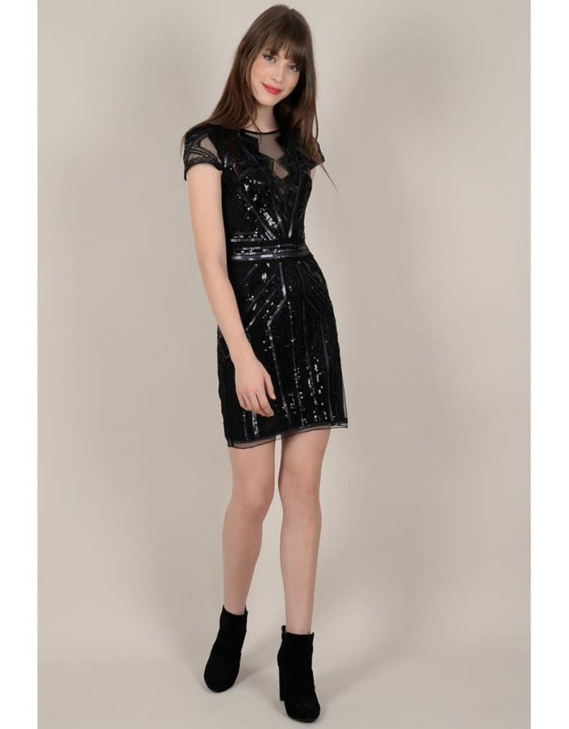Molly Bracken Cap Sleeve Sequin Dress