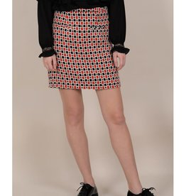 Molly Bracken PM Red Black Printed Pencil Skirt