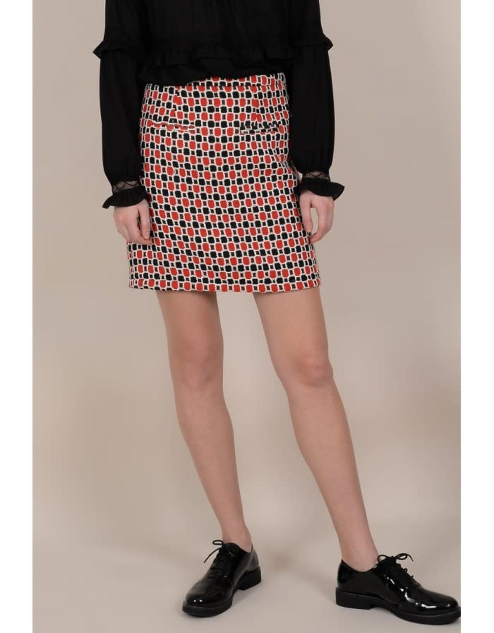Molly Bracken Red Black Printed Pencil Skirt