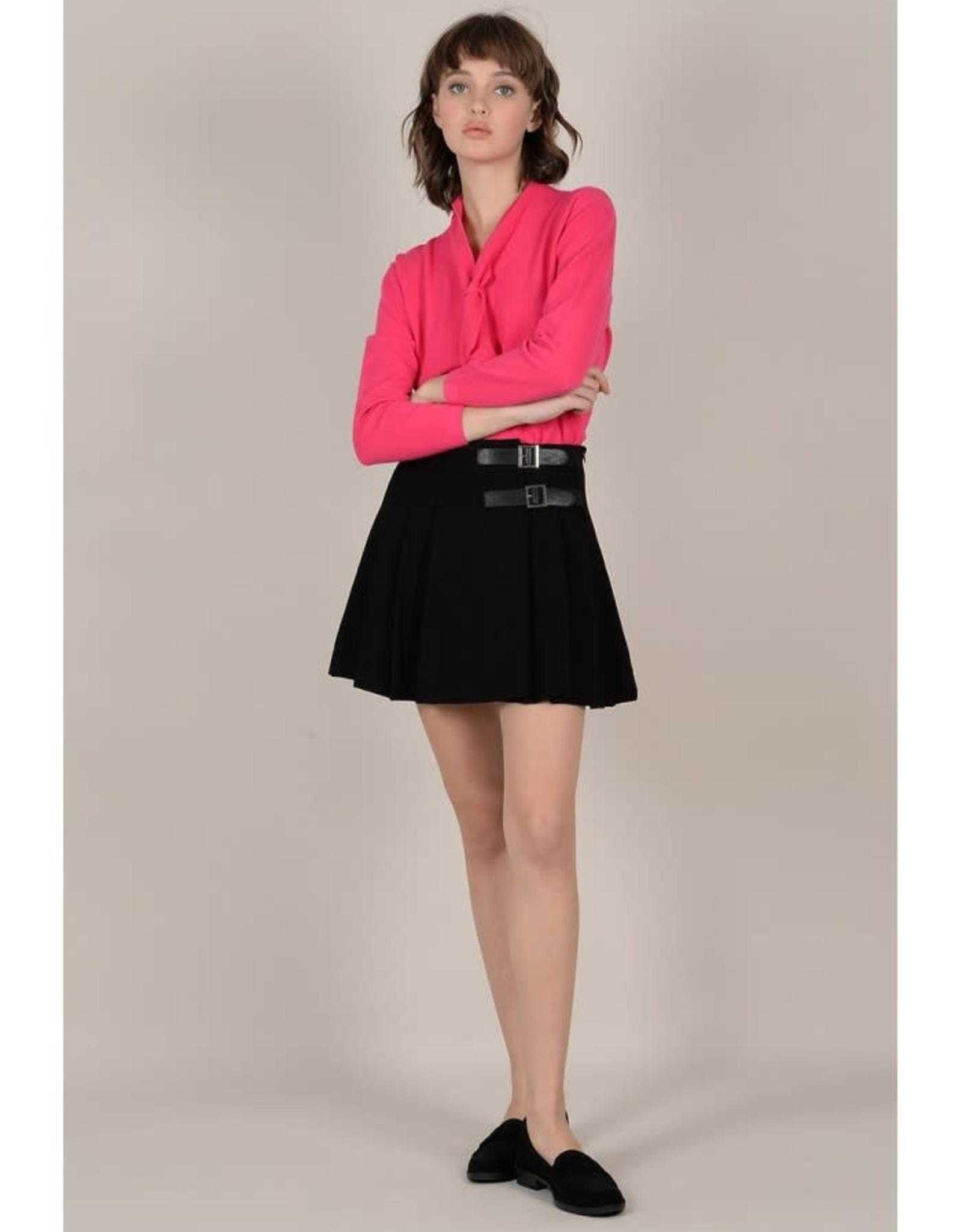 Molly Bracken Black Plaited Mini Skirt