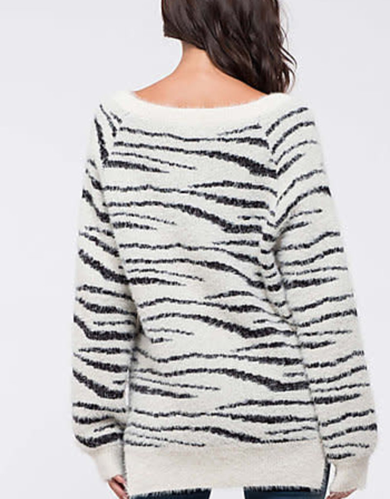 Blu Pepper Zebra Fuzzy Sweater
