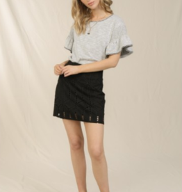 Skies Are Blue Cutout Faux Suede Skirt