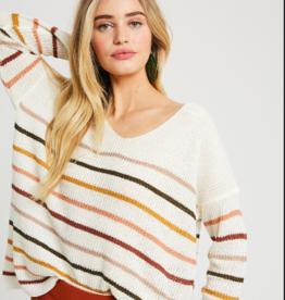 Wishlist Lightweight Cream Stripe Sweater