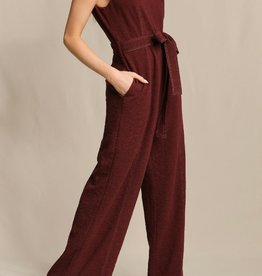 Skies Are Blue Burgundy Contrast Stitch Jumpsuit