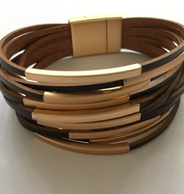 Blue Suede Jewels Leather Wrap Bracelet Rose Gold