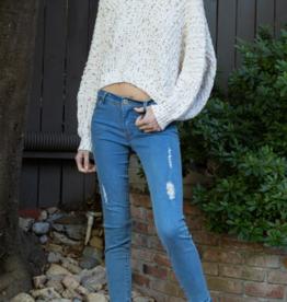 POL V Neck Confetti Chenille Sweater