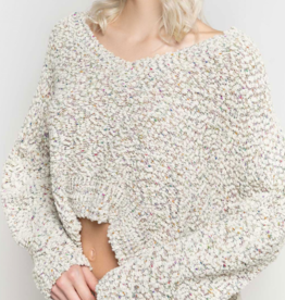 POL Cropped Popcorn Sweater