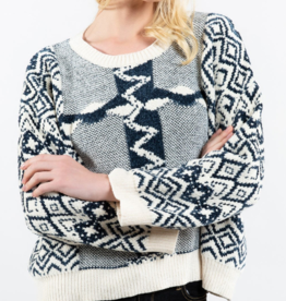 POL Cozy Navy White Sweater