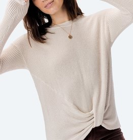 Love Stitch Knotted Front Thermal Sweater