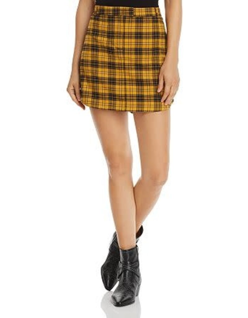 BB Dakota Yellow Plaid Skirt