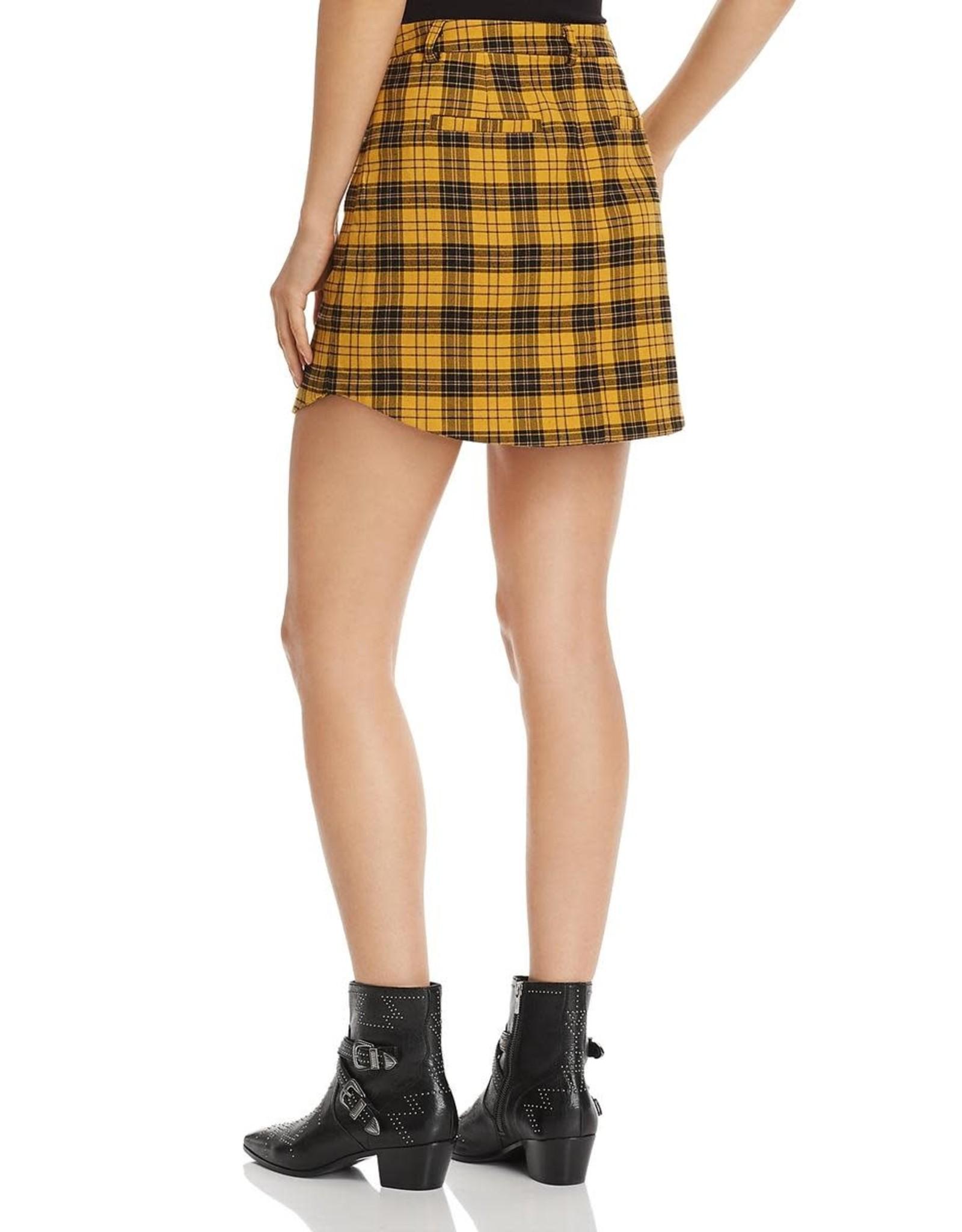 BB Dakota Yellow Plaid Skirt