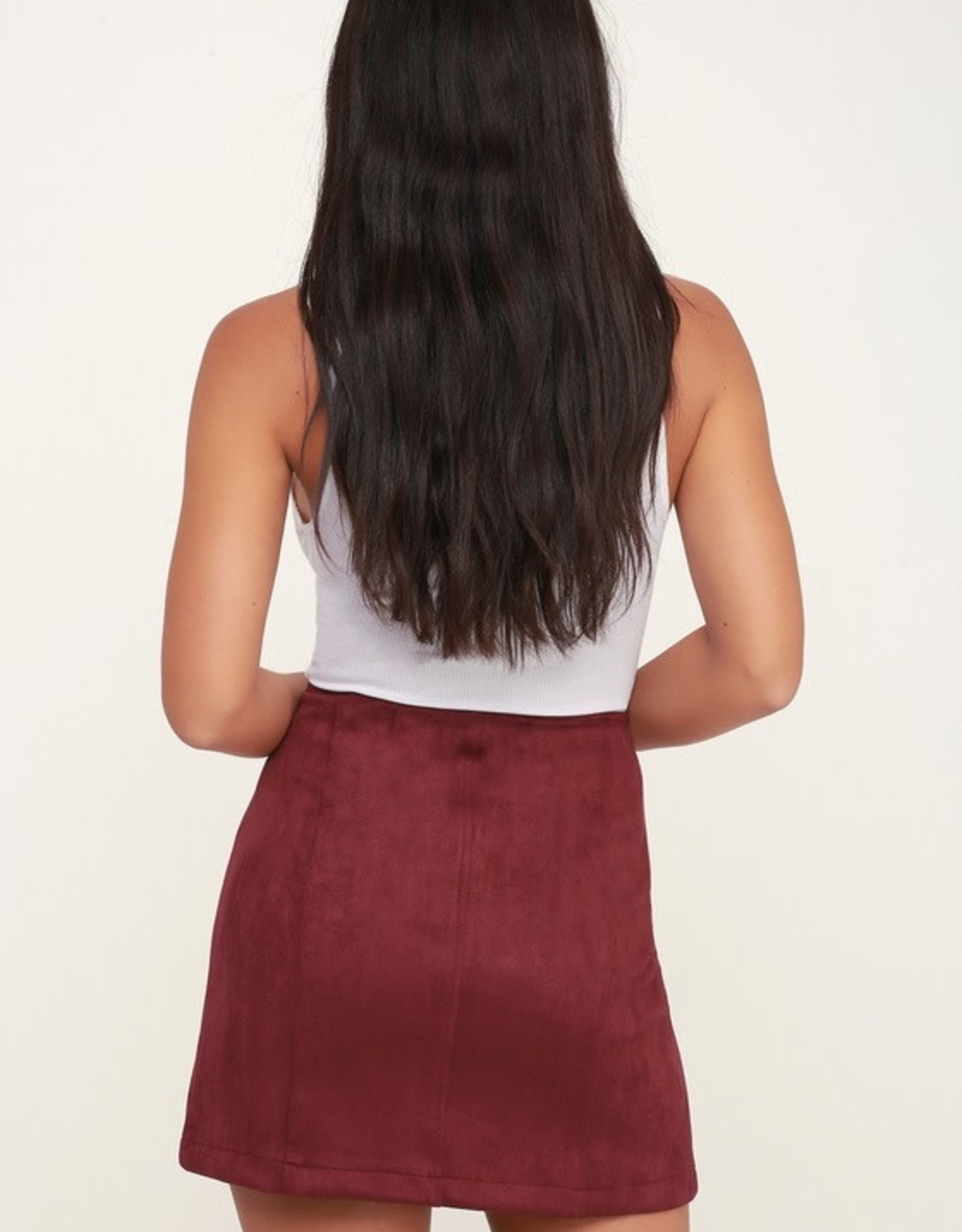 Jack Cranberry Faux Suede Skirt