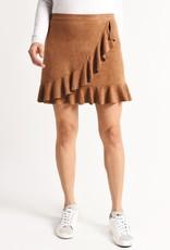 BB Dakota Tan Faux Suede Ruffle Wrap Skirt