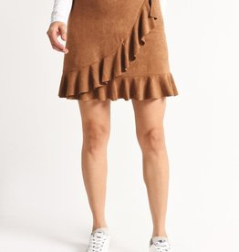 BB Dakota Tan Faux Suede Ruffle Wrap Skirt