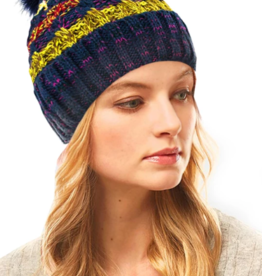 LOF Striped Pom Pom Beanie
