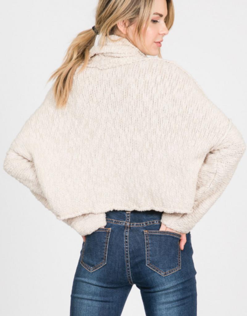 Papercrane Ivory Cropped Turtleneck Sweater