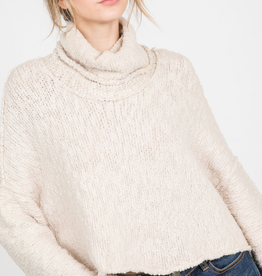Papercrane Ivory Cropped Turtleneck Sweater