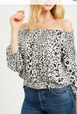 Wishlist Animal Print Off Shoulder Blouse