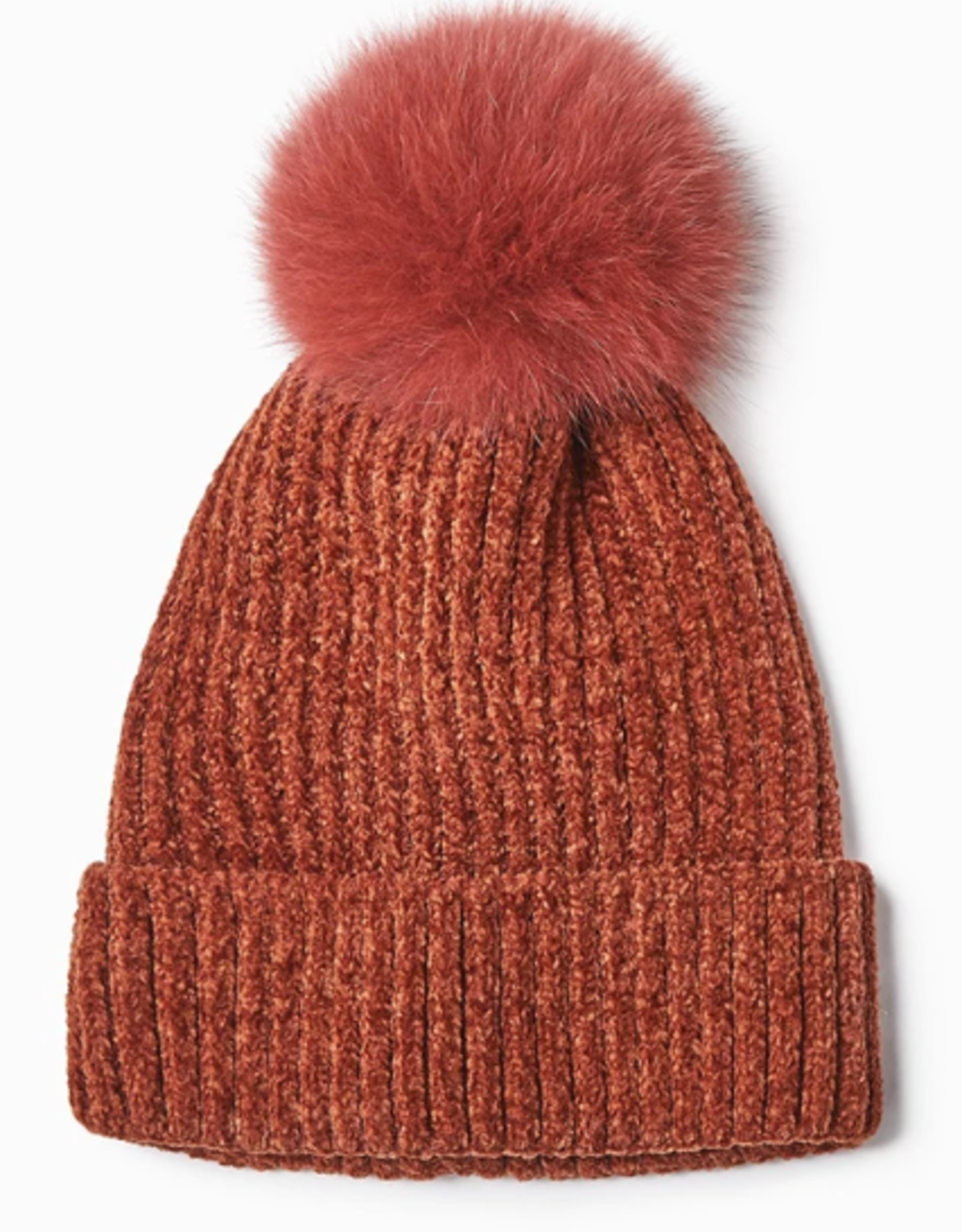 Look By M Chenille Pom Pom Hat