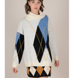 Molly Bracken Cowl Neck Argyle Sweater