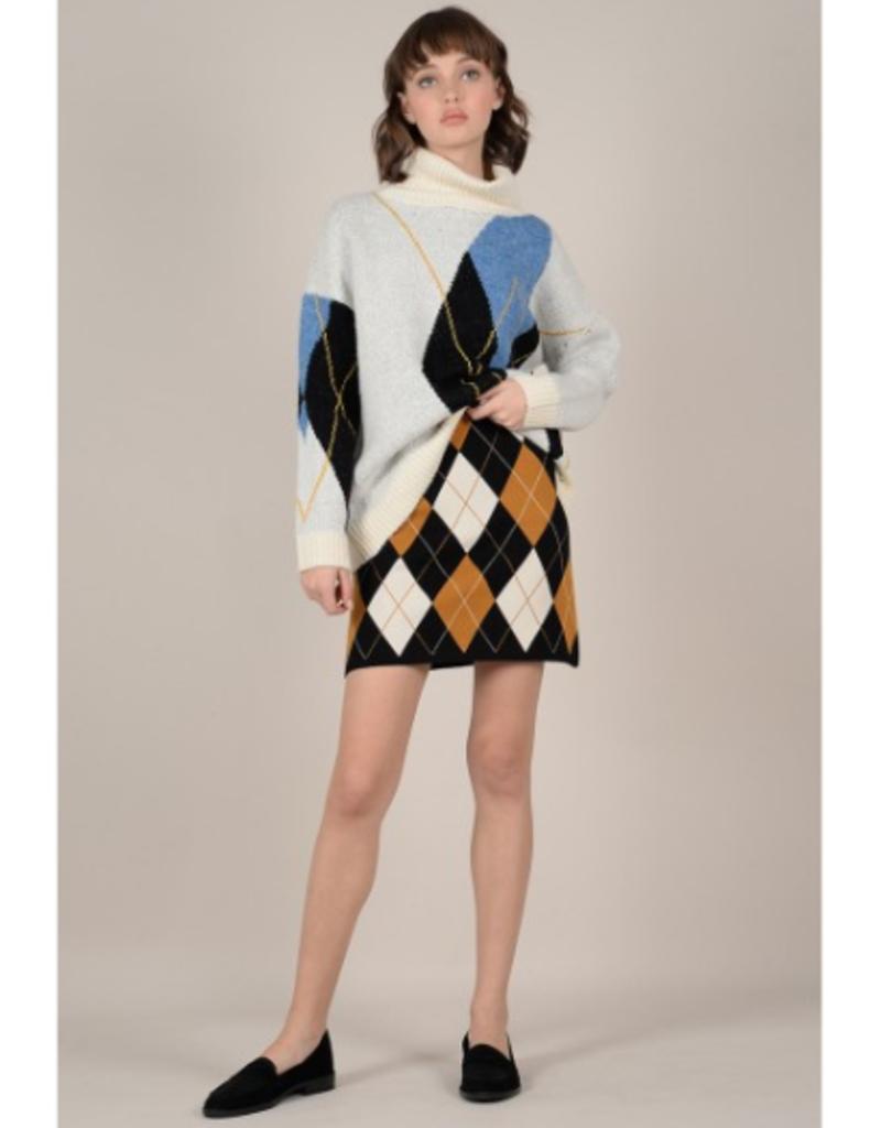 Molly Bracken Cowl Neck Argyle Sweater