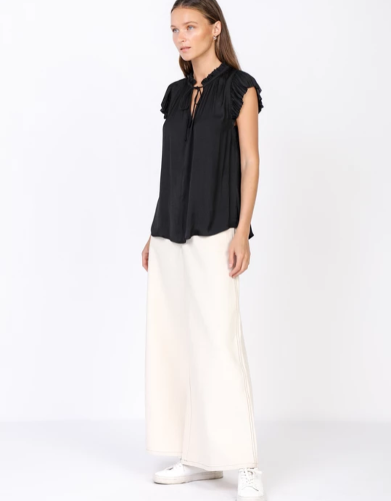 Current Air Pleated Short Sleeved Blouse