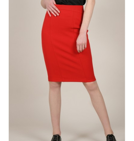 Molly Bracken Red Zippered Pencil Skirt