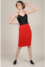 Molly Bracken Red Zippered Pencil Skirt