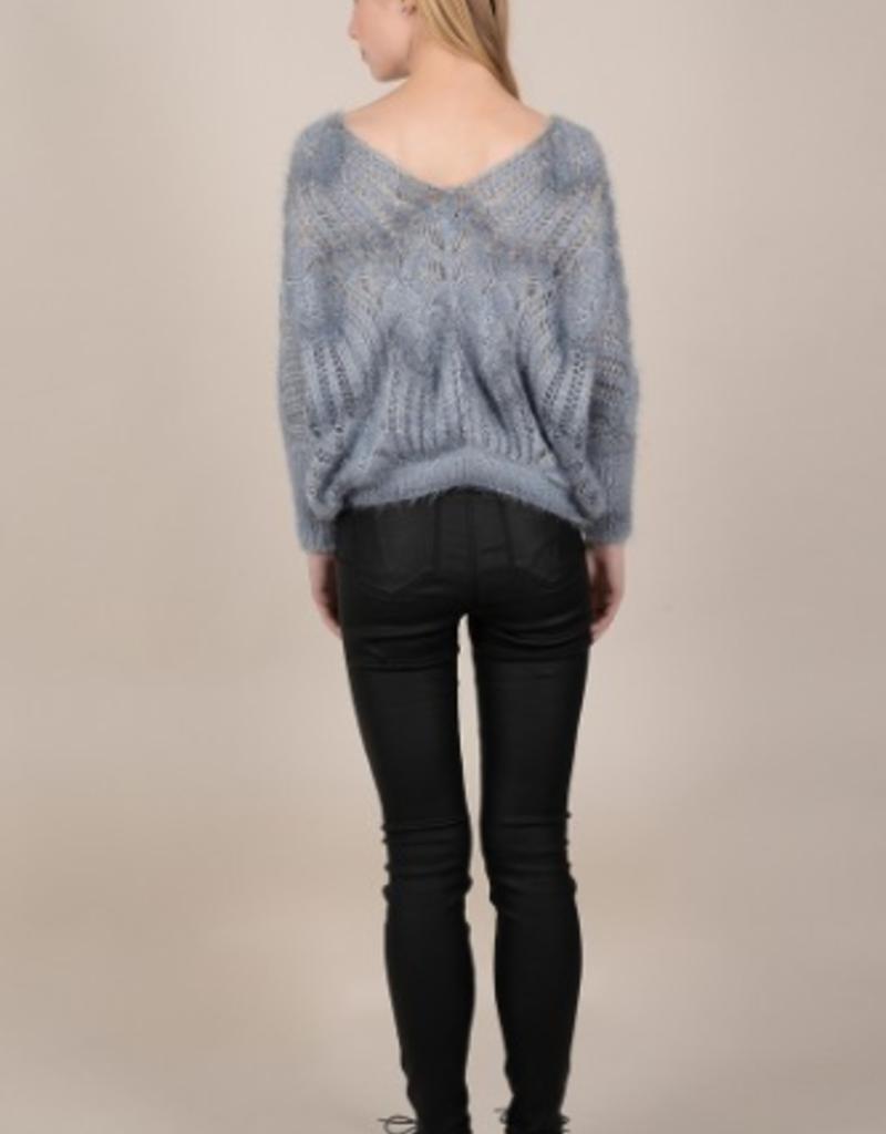 Molly Bracken Blue Open Knit Sweater