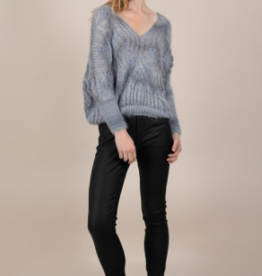 Molly Bracken Blue Open Knit Sweater