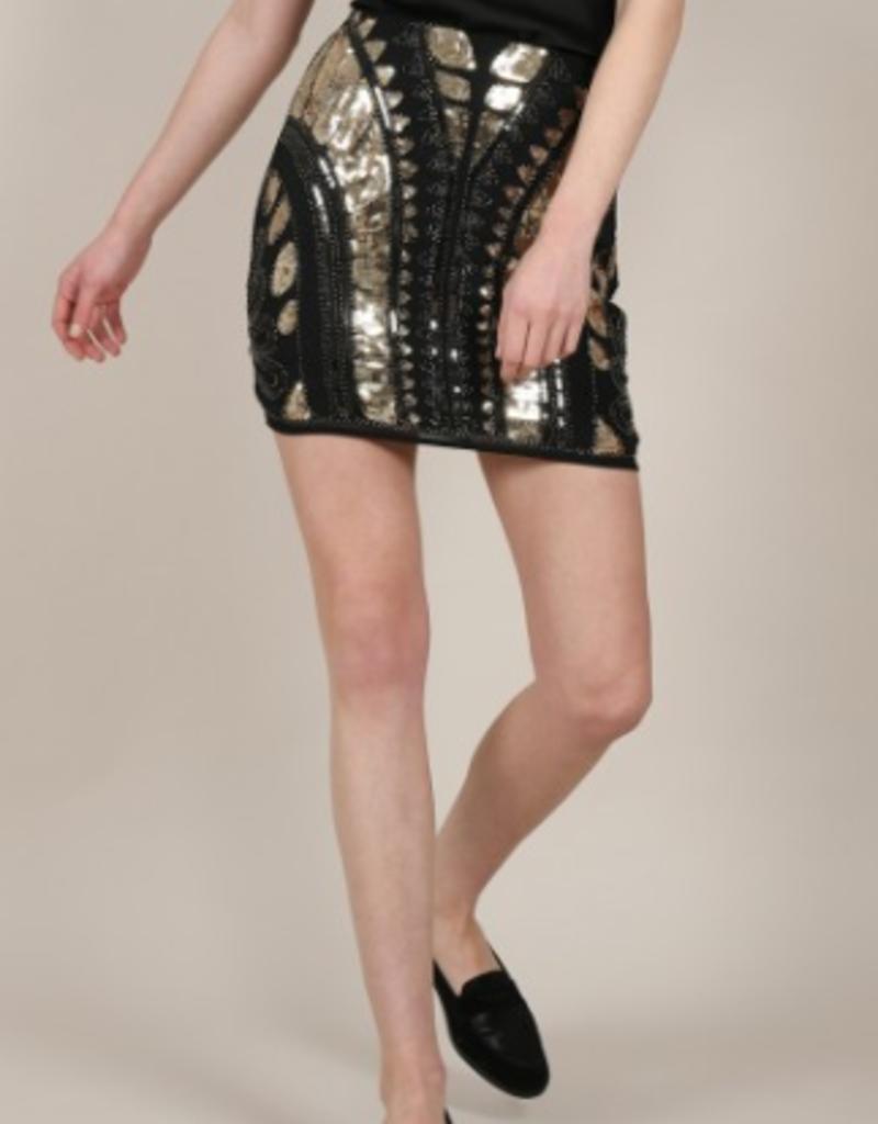 Molly Bracken Black/Gold Sequin Skirt