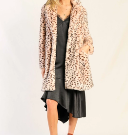 Skies Are Blue Leopard Faux Fur Coat